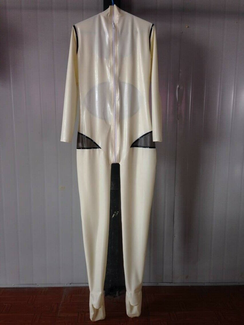 100% Latex caoutchouc blanc Catsuit femmes body costume Tigth chaussette Zipper0.4mm S-XXL