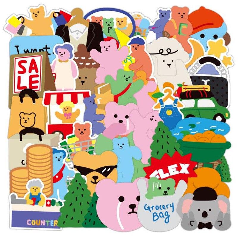10/30/50 шт в наборе, в Корейском стиле, с милым рисунком медведя из мультфильма граффити Ноутбук Автомобильное шлем чемодан СКЕЙТБОРД гитара В...