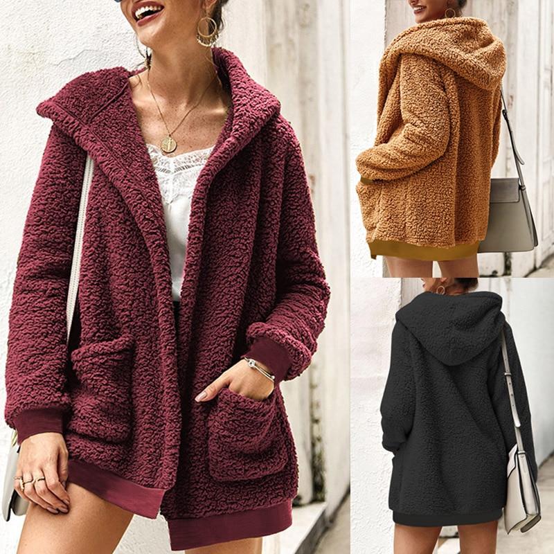 2019 Fashion Fleece Jackets Outwear Women Winter Long Sleeve Pockets Coats Trenchcoat Casual Loose Overcoats Solid Sweatshirt