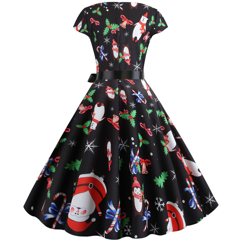 Women Christmas Party Dress robe femme Plus Size Elegant Vintage Short Sleeve Xmas Summer Dress Black Casual Midi Jurken Vestido 727