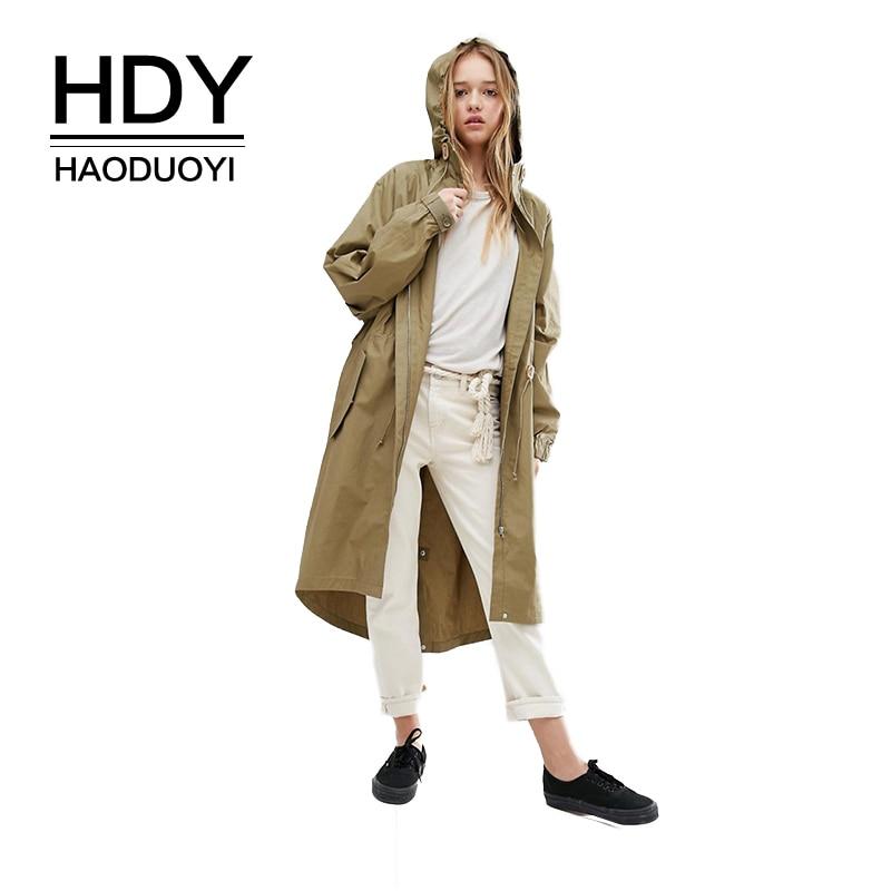 HDY Haoduoyi New Original Designer Ladies Spring Coat Solid Color Block Zipper Oversized Women Basic Jackets Outwear Coats Women
