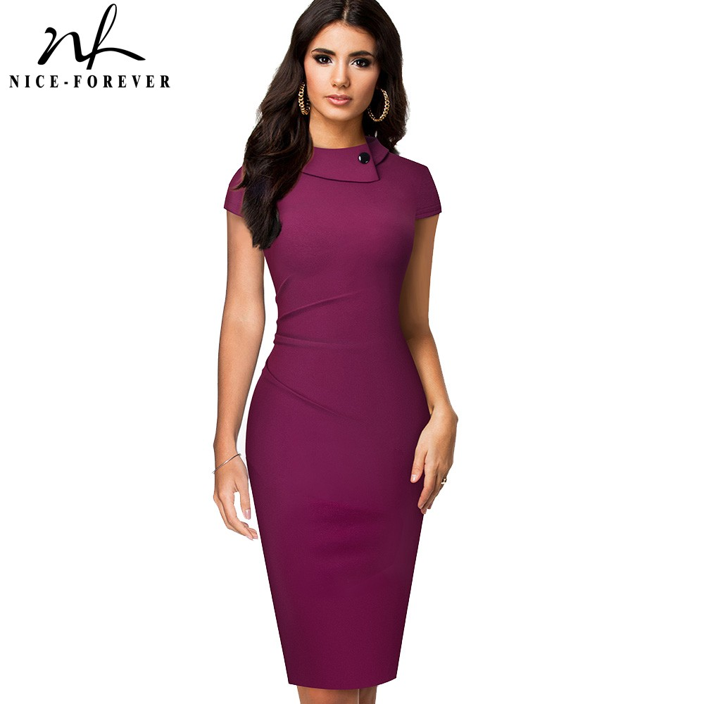Nice-forever Vintage Elegant Pure Color With Button Office Work Vestidos Business Formal Bodycon Women Pencil Dress B574