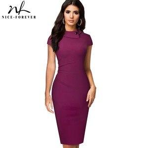 Image 1 - 素敵な 永遠にヴィンテージでエレガントな純粋な色ボタンオフィスワーク vestidos ビジネス正式なボディコン女性ペンシルドレス B574