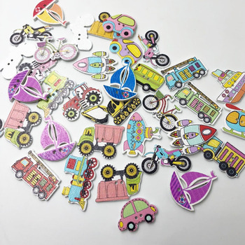 50PCs Random Mixed Decorative Lovely Conveyance 2 Holes Sewing Wood Buttons Flatblck Scrapbooking WB596 image