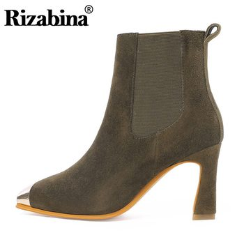 RIZABINA 2020 New Office Ladies Ankle Boots For Women Real Leather Zipper High Heels Shoes Square Toe Shoes Women Size 34-43
