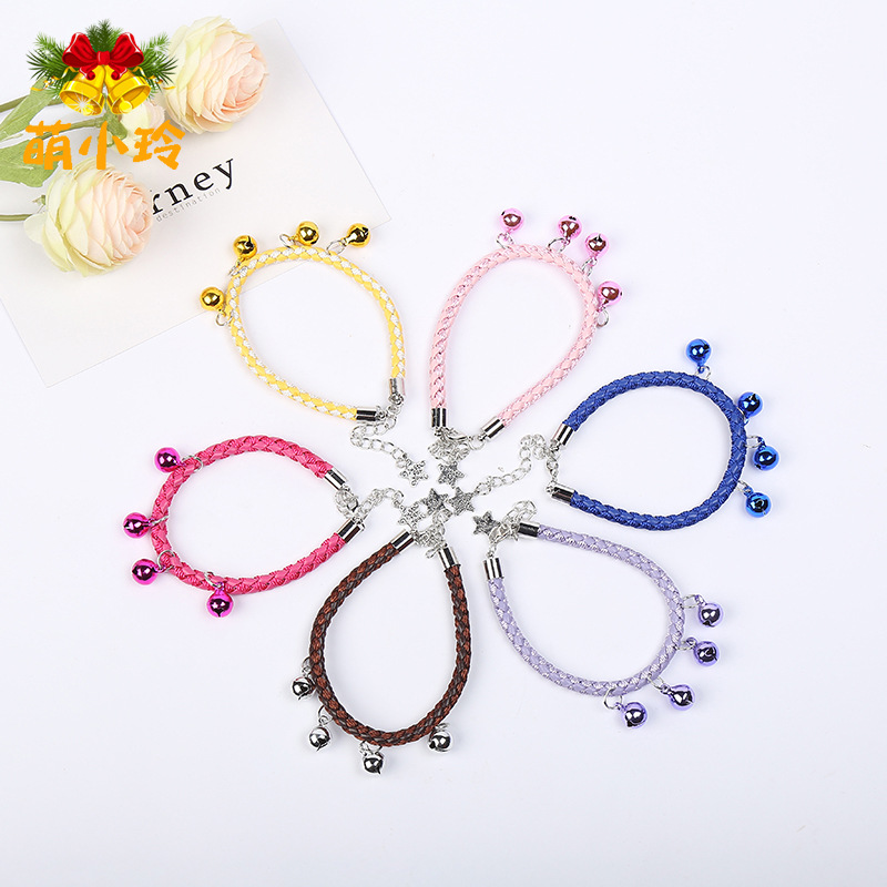 Hot Sales Fashion Weaving Leather Rope Neck Ring Dogs And Cats Bell Collar Dog Neck Ring Pet Supplies Accessories