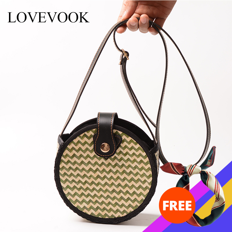 Lovevook Women Bamboo Bags Rattan Bags Summer Beach Bags For Travels Woven Straw Bags Wave Crossbody Bags For Women 2020 Bohemia
