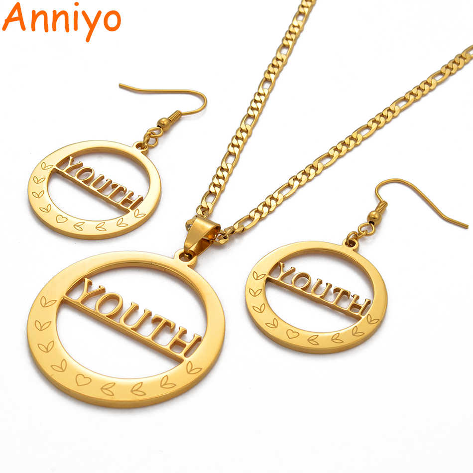Anniyo Big Size YOUTH Pendant Necklaces Earrings for Women Marshall Jewelry set / CANNOT CUSTOMIZE NAME #044621
