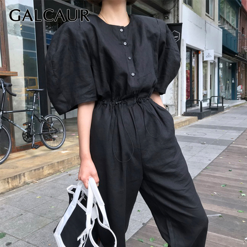 GALCAUR Casual Jumpsuit Women Puff Sleeve O-neck High Waist With Drawstring Black Female Jumpsuits 2019 Summer Tide New Style
