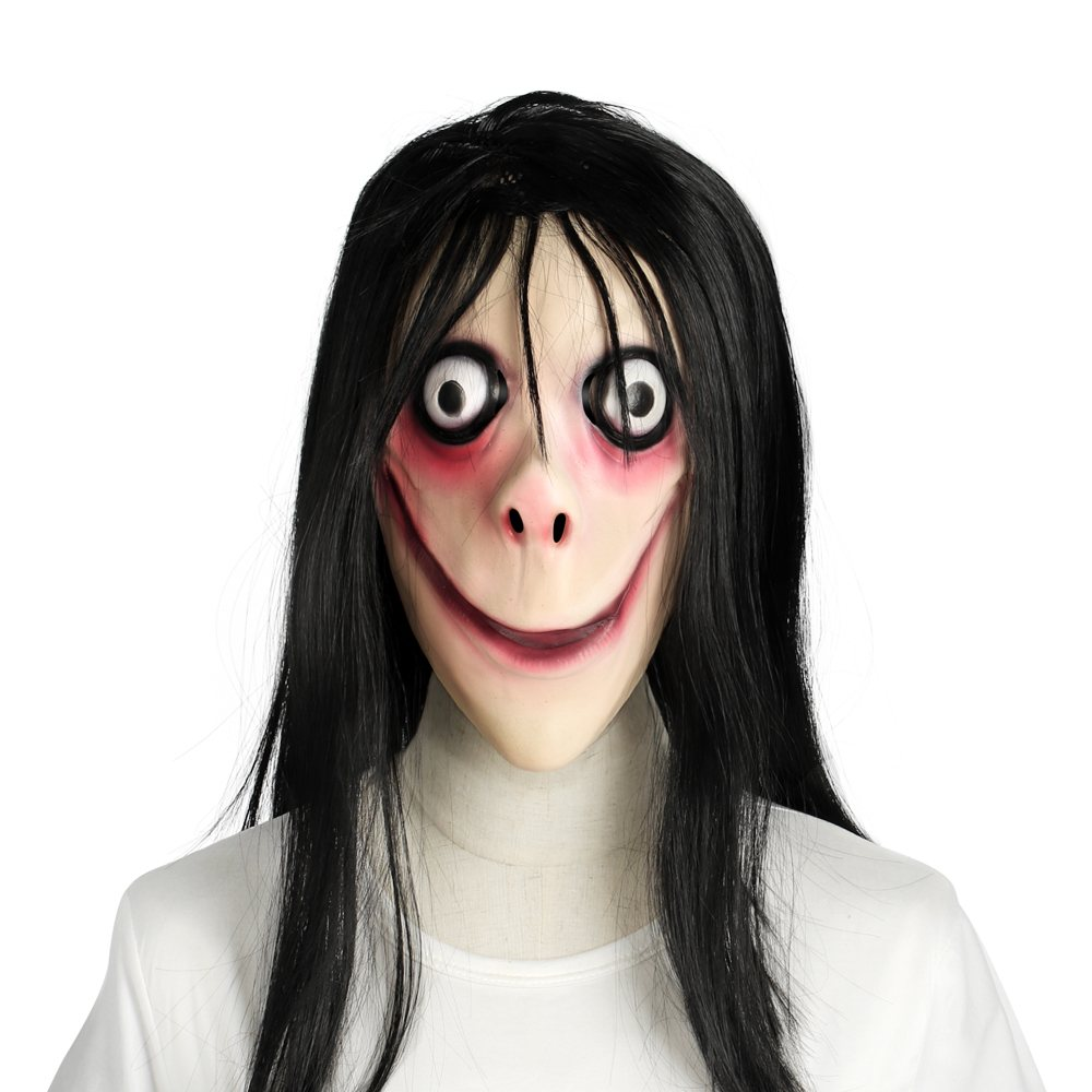 MOMO Mask Scary Masks Tern Women Horrible Ghost Mascara with Long Hair Festival Party Evil Game Supplies Updated Version image