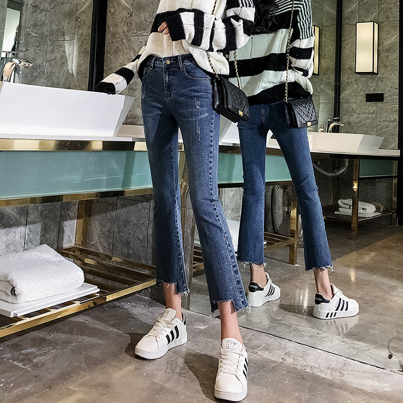 Micro Bell-bottom Pants Jeans Women's 2019 Spring Clothing New Style Online Celebrity High-waisted Slimming Straight-Cut Elastic