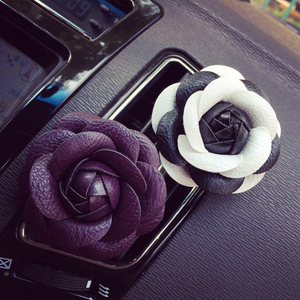 Image 5 - Car styling Camellia High Flower Car Accessories Female Air Outlet Perfume Clip Dashboard Decoration Interior Ornament