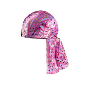 Image 5 - Children Silk Long Tail Pirate Hat Headscarf Hip Hop Cap Bandana Turban Headwear Boys Hip Hop Cloak Hat Hair Accessories