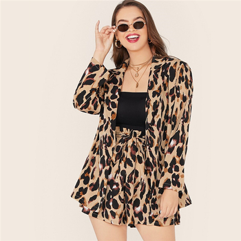 Plus Size Leopard Print Notch Collar Blazer and Belted Shorts