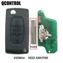 Пульт дистанционного управления для автомобиля QCONTROL с 3 кнопками для PEUGEOT 807 407 308 307 CC SW Expert Partner CE0523 ASK/FSK, HU83 Blade