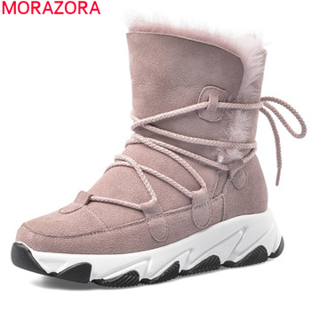 MORAZORA 2020 New Brand fashion snow boots comfortable flat heel keep warm women boots top quality winter ankle boots size 34-40
