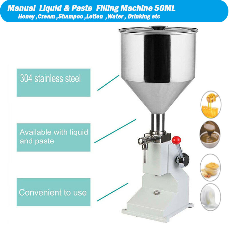 Food Filling Machine Manual Hand Pressure Stainless Paste Dispensing Liquid Packaging Equipment Sold Cream Machine 1 ~ 50ml