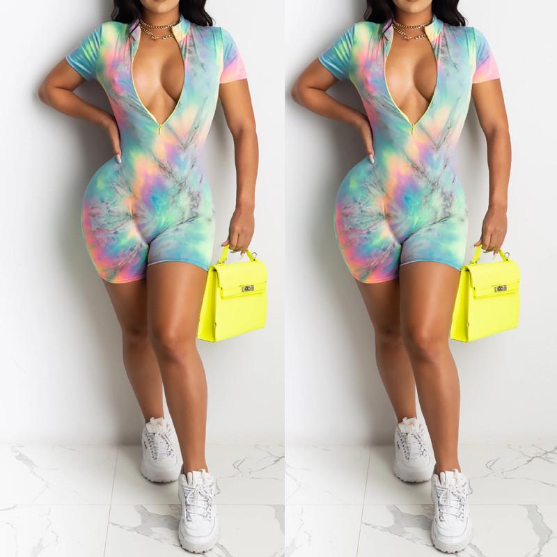 Tie Dyeing Print Deep V neck Front Zipper Jumpsuit 2020 New Sexy Women Bodysuit Shorts Romper Leotard Sleeveless Print Bodysuit
