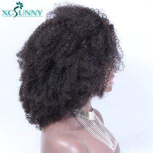 Афро кудрявый парик с челкой полный машинный парик головы Топ 200 плотность Remy Бразильские короткие вьющиеся человеческие волосы парики Xcsunny