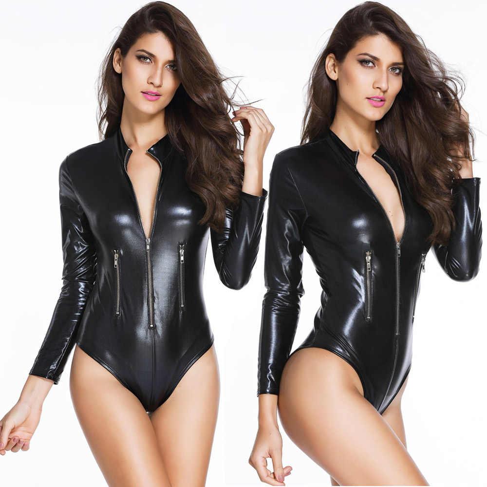 แขนยาวไวนิลบอดี้สูทผู้หญิงซิปด้านหน้าสีดำ PU หนัง Bodycon Skinny Romper Cool ฤดูใบไม้ร่วง Latex หนัง Jumpsuit Clubwear