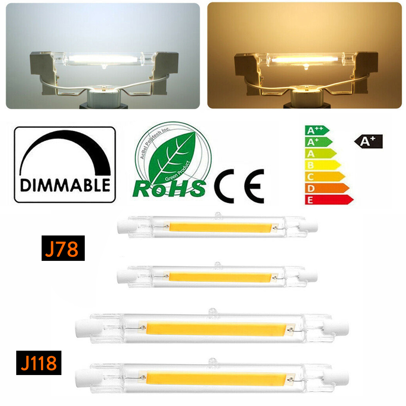 118mm J118 78mm J78 6W 12W 20W 110V 220V R7s R7S LED Glass Ceramic Tube Light Bulbs Dimmable COB Lamp  For Foodlight Lighting