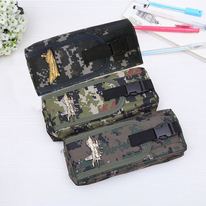 Kids School Big Pencil Case Multifunction Pencil Case For Boys Camouflage Large Capacity Pen Box Bag Stationery Supplies Gift