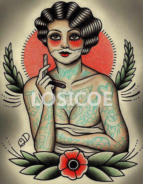 Vintage cabeleireiro tatuagens modelado cartazes papel kraft pintura interior restaurar adesivo de parede barbeiro loja decoração 30