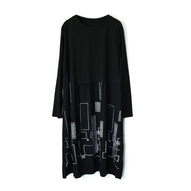 Autumn Plus Size Dress O Neck Drawstring Waist Hugging Patchwork Geometric Printing Loose Loose Dresses for women 2