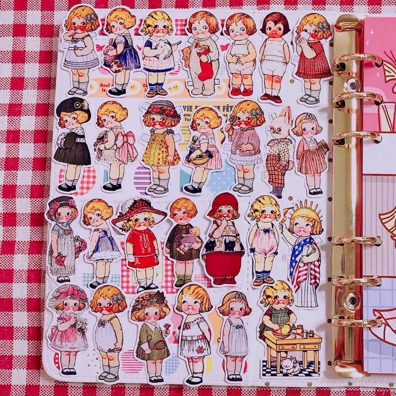 34pcs Retro Doll Scrapbooking Stickers Decorative Sticker DIY Craft Photo Albums