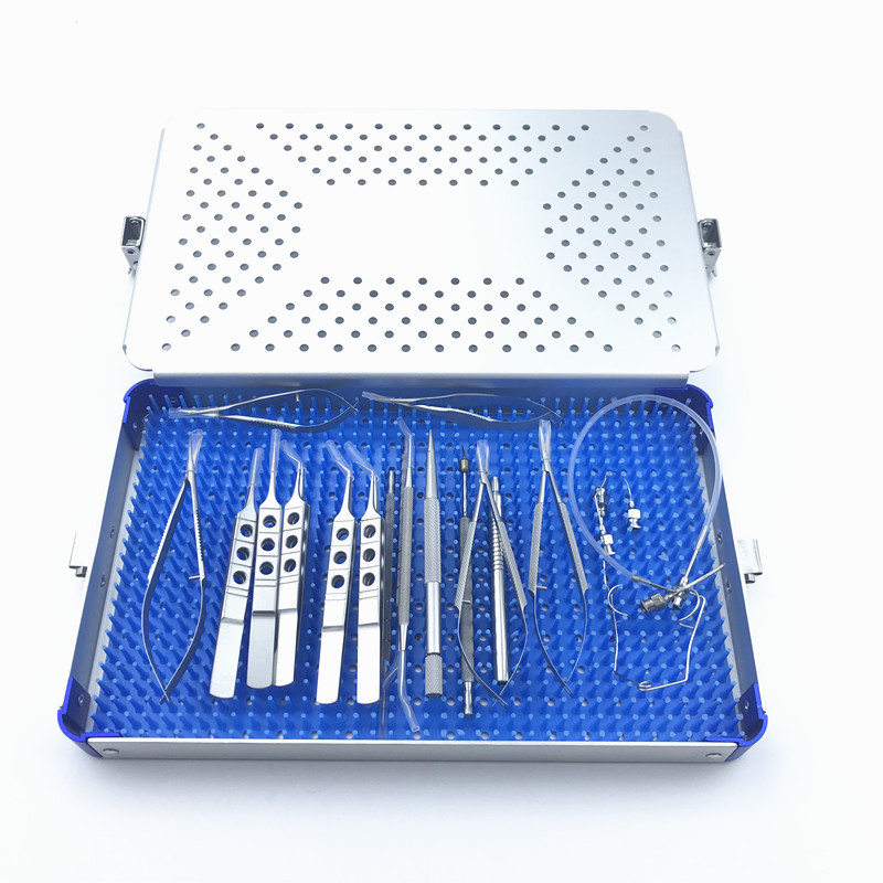 Ophthalmic Cataract Set Surgical Kit Eye Micro Surgery With Sterilization Tray Box Case 21PCS