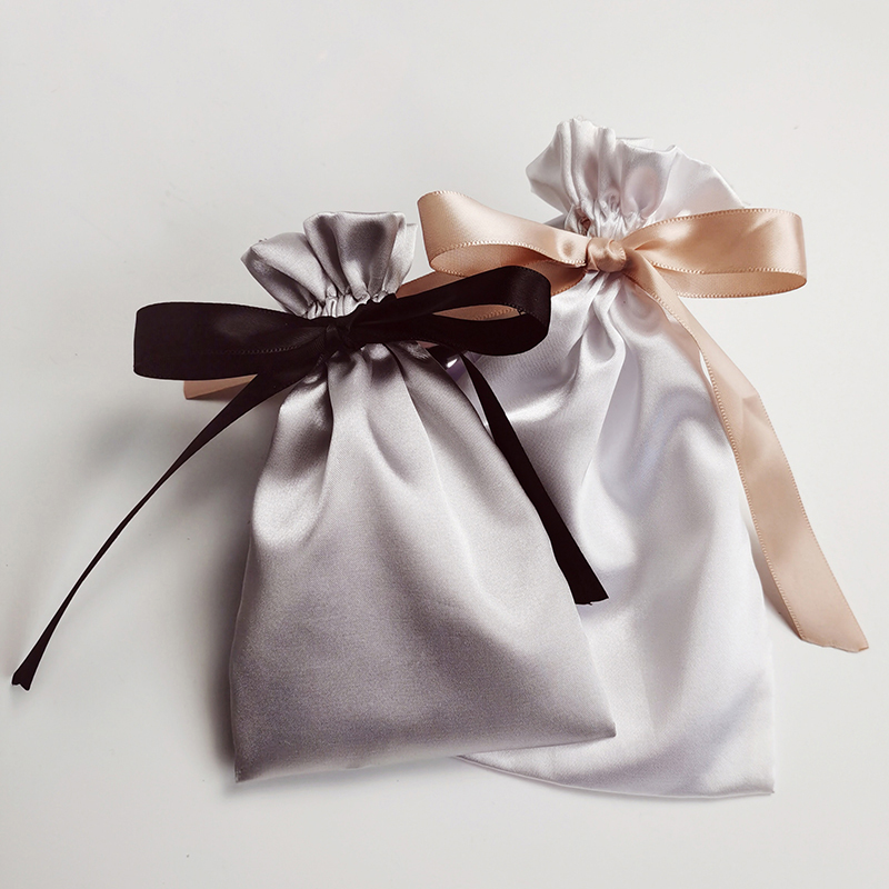 Jewelry Packaging Hair Satin Bag Silk Ribbon Makeup Bag Wedding Party Cosmetic Necklace Bracelet Drawstring Storage Pouch