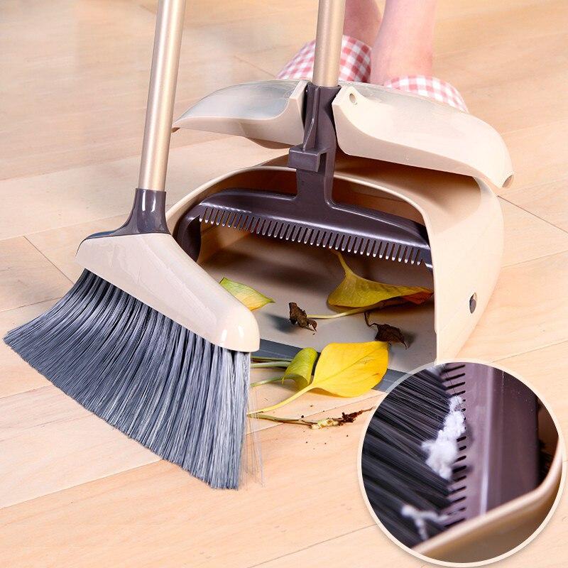 Cleanhome Bezem En Stoffer Met Lange Handvat Voor Rechtop Sweep Keuken Thuis Lobby Kantoor Huis Schoonmaken