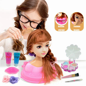 Kids Dolls Make Up Comb Hair Toy Doll Set Pretend Play Princess Set Dolls Makeup Kit Toys For Girls Dressing Cosmetic Girl Gifts bellylady kids girl makeup set eco friendly cosmetic pretend play kit princess toy gift