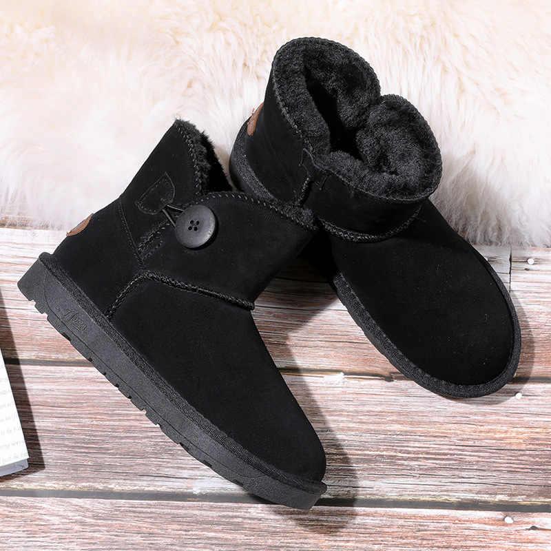 ZUZI kadın ayak bileği kar botları avustralya tarzı hakiki inek deri su geçirmez sıcak düğmesi kış çizmeler kadın ayakkabıları Botas Mujer