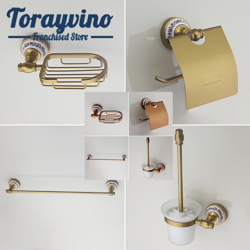 Torayvino Bathroom Accessories gold & rose gold wall mounted parts Towel rod, , Soap rack,hook up,Toilet brush kit banheiro