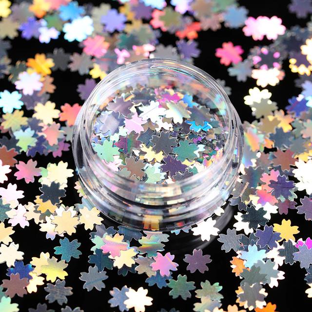 1Box Autumn Maple Leaf Holographic Nai