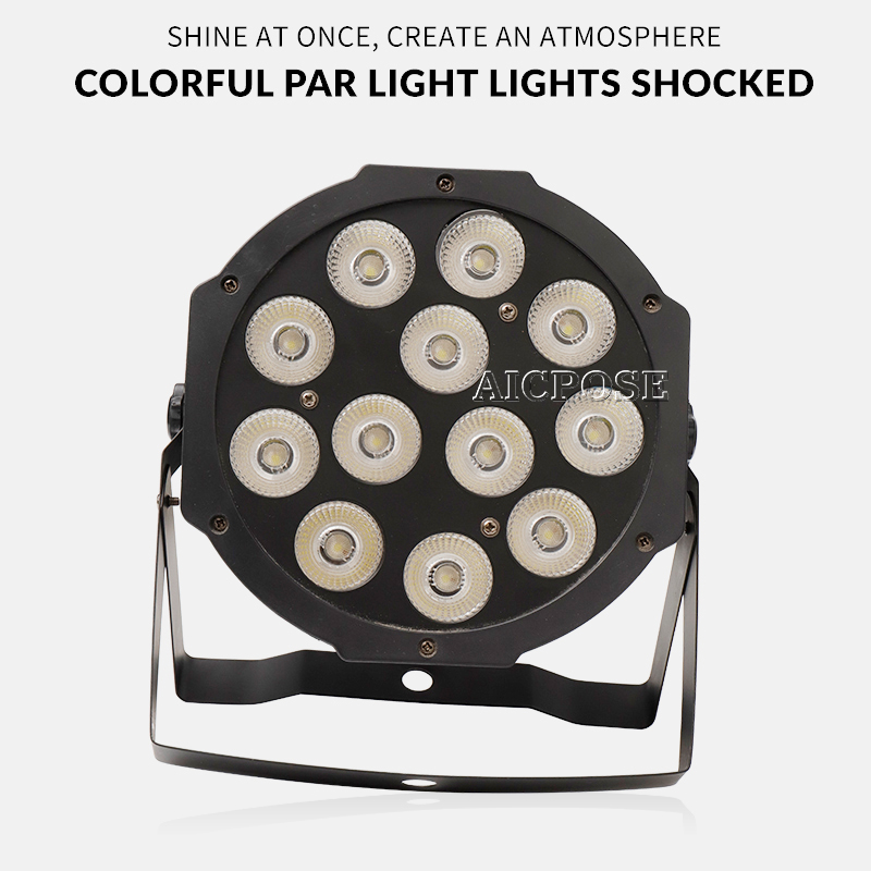 Купить с кэшбэком 2pcs/lots 12w led lamp beads 12x12W led Par lights RGBW 4in1 flat par led dmx512 disco lights professional stage dj equipment