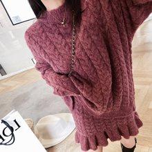 新しい秋のセーターの女性ドレス冬長袖セーターニットドレスのマキシ特大ドレスニットローブvestido