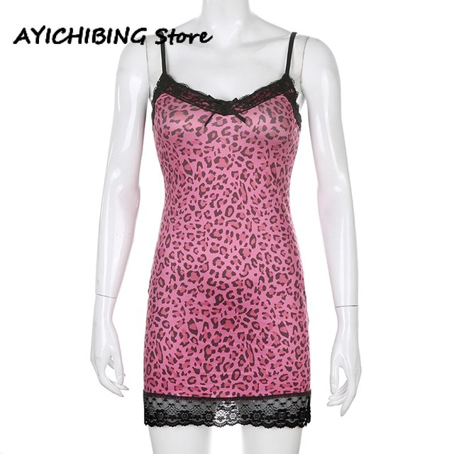 Animal Leopard Printing Mini Dress Bodycon High Waist Summer Patchwork Lace Sexy  Dress Female Y2k Sleeveless Summer Dress Women 5