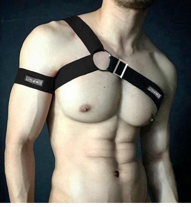Harness Lingerie Body Chest Men Shoulder Bondage Straps Sexy Elastic Costume Erotic Hombre Performance Or Arm Band Adjustable