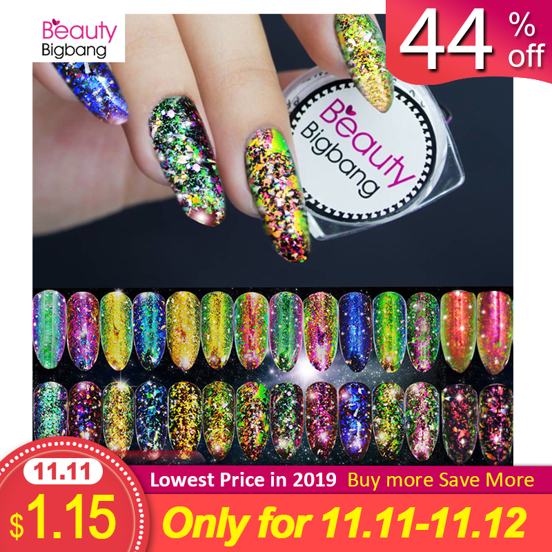 BeautyBigBang 0.2g Chameleon Nail Glitter Paillette Irregular Powder Coral Color Art Sequins Manicure Decorations