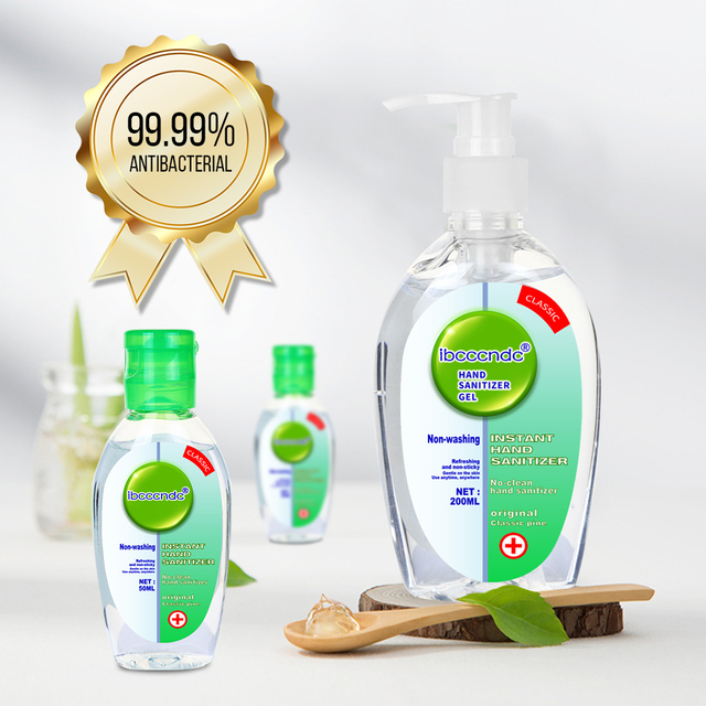 200ml+2pcs 50ml Anti Bacterial Waterless Hand Sanitizer Hand Disinfection Gel No-clean Quick-Dry Disposable Handgel 75% Ethanol 1