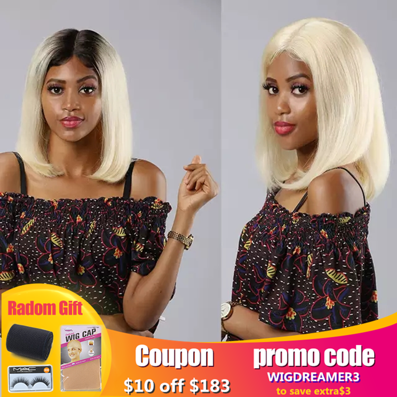 13x6 613 Blonde Short Bob Lace Front Human Hair Wigs For Black Women Brazilian Straight Hair 1B 613 Ombre Colored Lace Wig