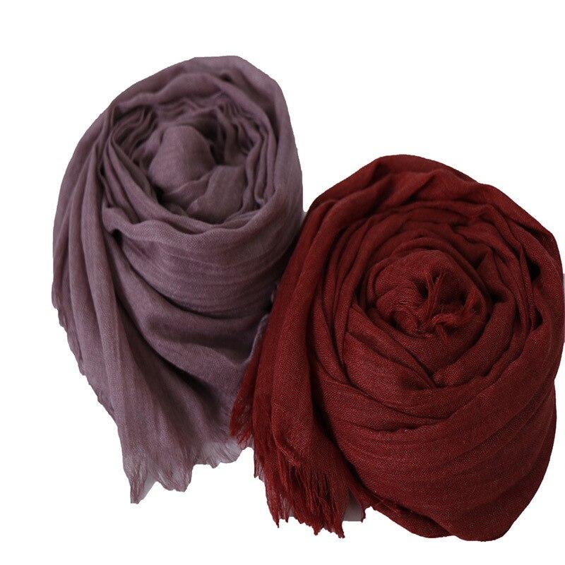 Muslim Cotton Head Scarf Hijab Turban Plain Shawls And Wraps Islamic Tassel Headscarf Wrap Head Scarves Foulard Femme Musulman