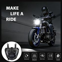 KEMiMOTO dla YAMAHA MT07 FZ07 LED światło główne DRL 2014 2015 2016 2017 reflektor motocyklowy dla MT 07 110W 12V na