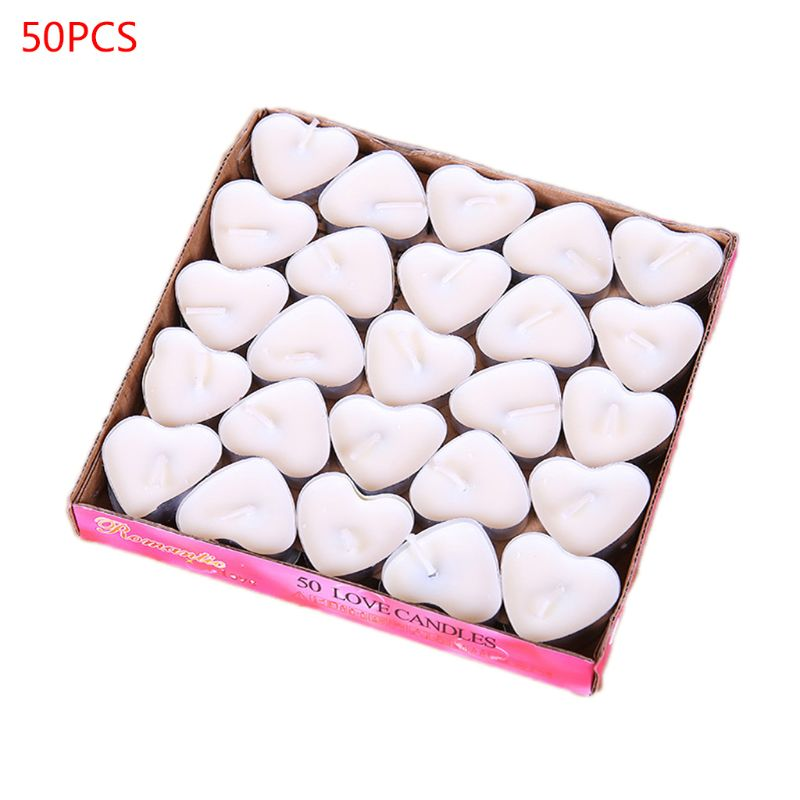 2020 New 50Pcs/box Love Heart Tealight Candles Smokeless Candle Valentine Proposal Gift