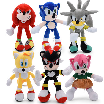 6 PCS/Set Sonic Plush Doll Toys 12'' Sonic Shadow Amy Rose Knuckles Tails Plush Toys Soft Stuffed Toy For Kids Children недорого