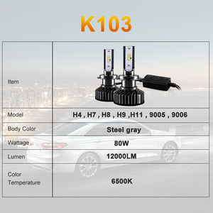 Image 4 - HLXG H4 H7 4 LEVOU Chips de LED Lâmpada Do Farol Do Carro Kit H7 12V 12000LM 80W 6500K Luz do Farol hb3 LEVOU HB4 LED H11 H8 H9 9005 9006