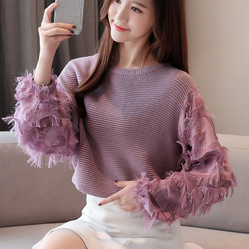 Sweater Women's Tops Blusa 2020 Round Neck Bow Korean Tassel Knitted Sweaters Splice Chiffon Women Top Casual Blouses Shirts 64J