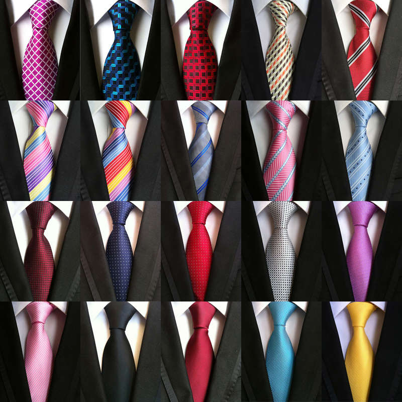 63Color Men's Ties 100% Silk Neck Ties 8cm Jacquard Stripes Solid Dot Classic Necktie For Men Formal Business Wedding Party Gift